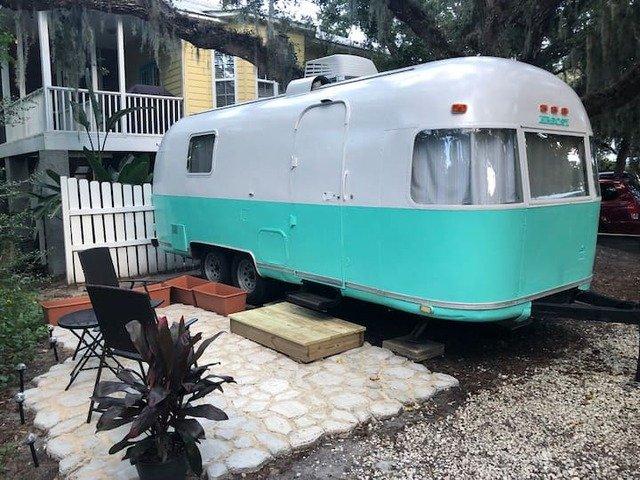 vintage RV in St Augustine beach gray & teal