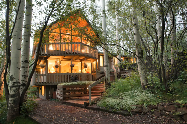 2 story cabin at twilight near Aspen