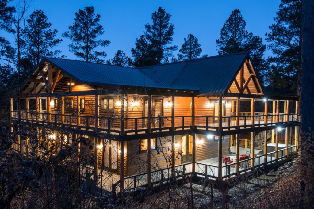 large cabin with wrap around deck