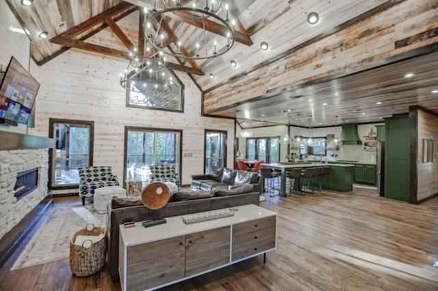 Interior of modern farmhouse cabin