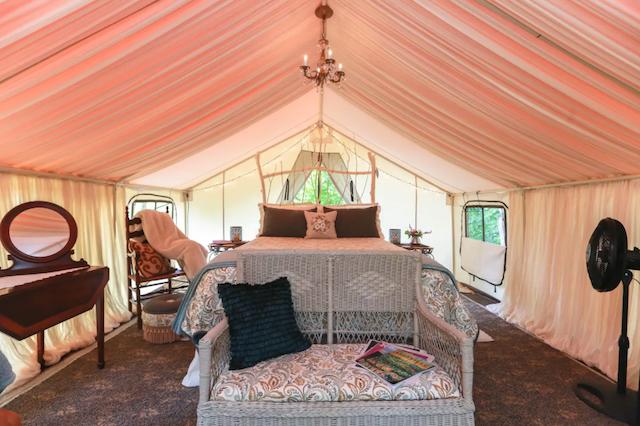 Glamping tent interior