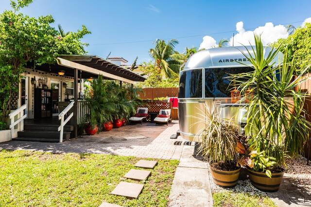 airstream trailer chrome exterior with porch as an rental