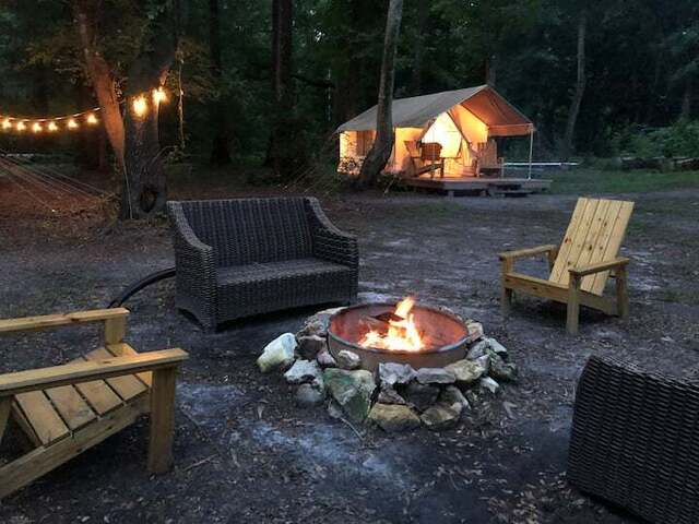 glamping tent with firepit
