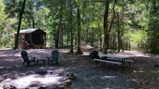 small cabin with picnic table and fire pit