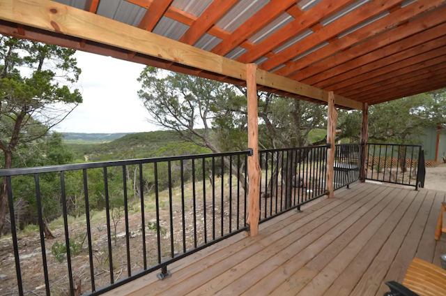 Cabin in Wimberley porch with hill country views