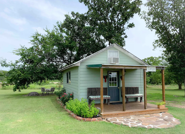 small green cottage exterior in Oklahoma