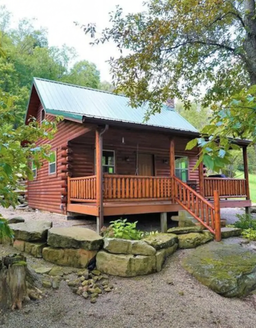 red log cabin exterior