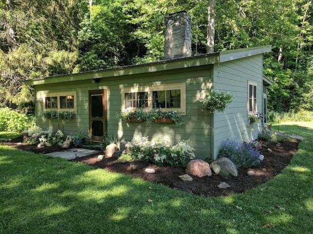 green cabin exterior