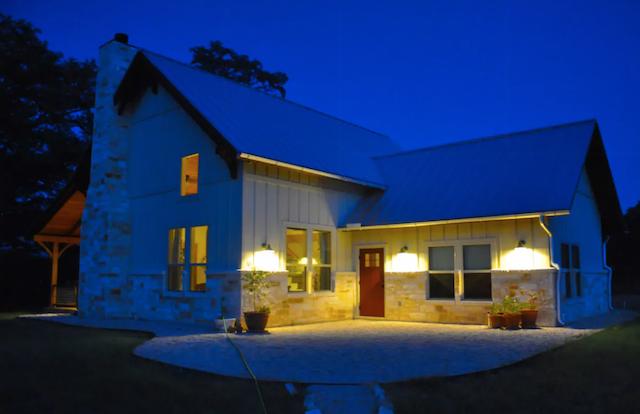 Cabin exterior at night