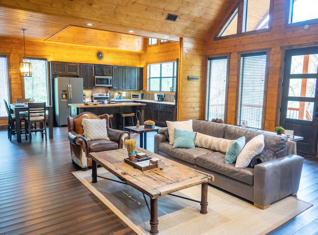 Cloud 9 cabin living room and kitchen