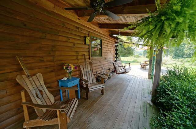 Pet Friendly Sweet Peace Cabin porch with rocking chairs