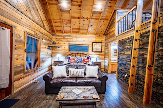 Cabin living room with loft